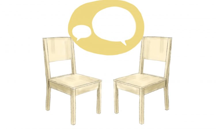 two yellow chairs talking to each other